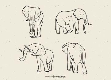 Set de linea de elefante