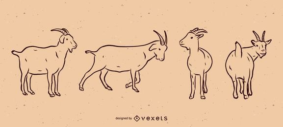 Goat line illustration set