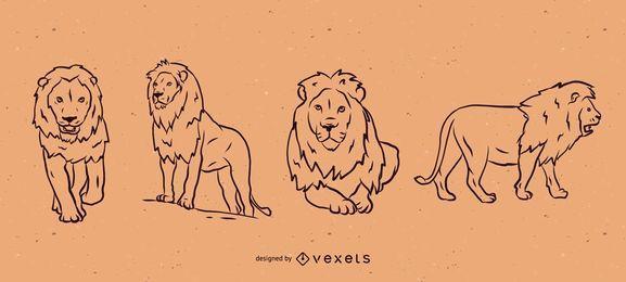 Conjunto de ilustração de linha de leão