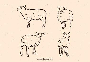 Conjunto de ilustración de línea de oveja