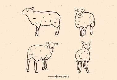 Sheep line illustration set
