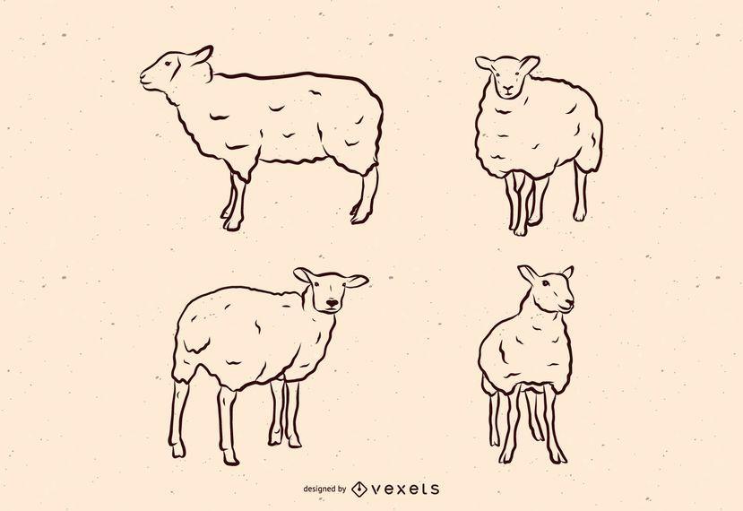 Sheep line illustration set