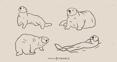 Sea otter sketch set