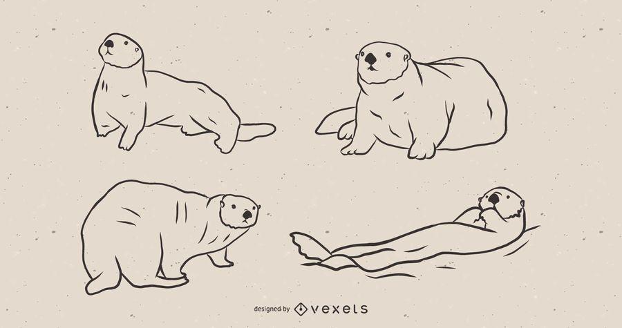 Conjunto de dibujos de nutria de mar.
