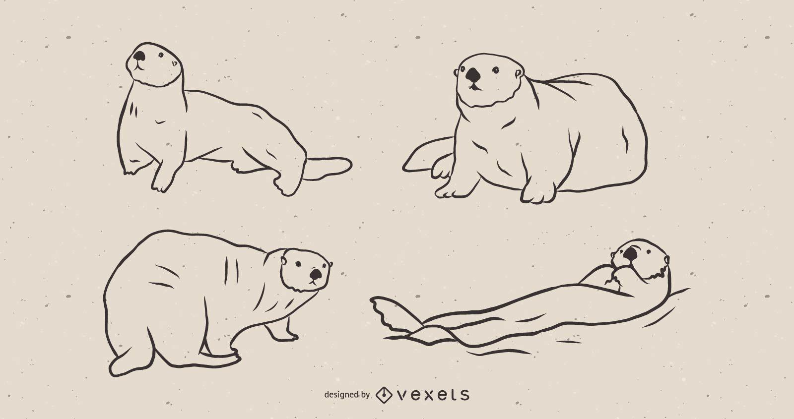 Conjunto de bocetos de nutria marina