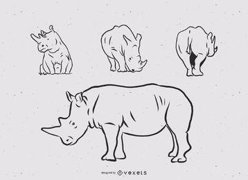 Conjunto de ilustração de linha de rinoceronte