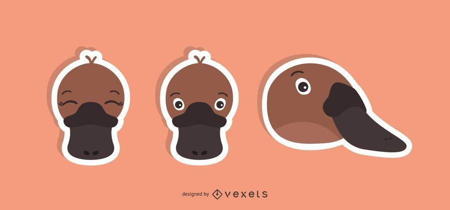 Conjunto de ilustración de etiqueta de pato