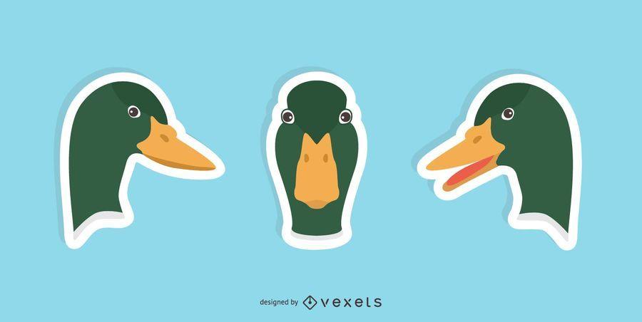 Conjunto de Design de etiqueta de pato