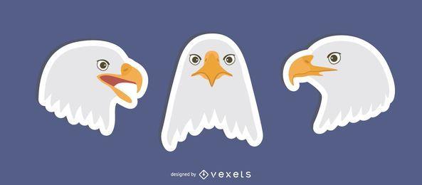 Flache Adler Aufkleber Set