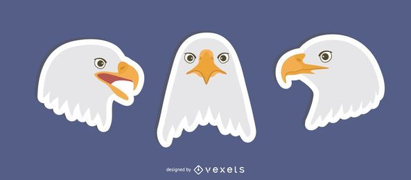 Flat Eagle Sticker Set