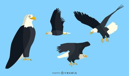 Conjunto de ilustración de águila plana