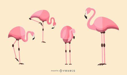 Conjunto de ilustración de flamenco plano