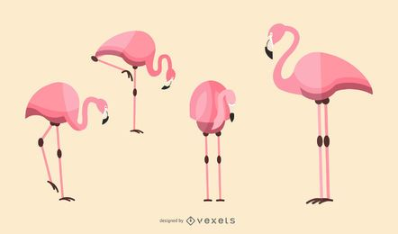 Flache Flamingo Abbildung Set