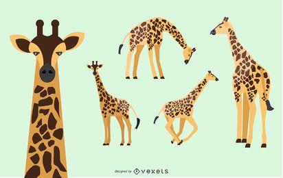 Conjunto de ilustração de girafa
