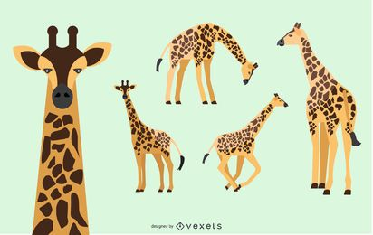 Giraffen-Illustrationssatz