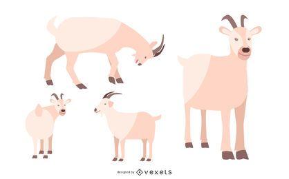 Conjunto de ilustración de cabra plana