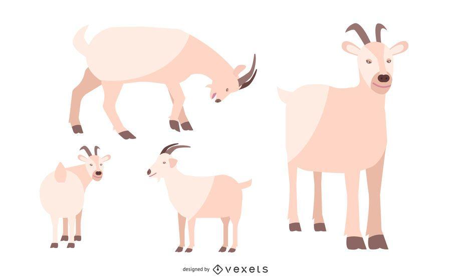 Conjunto de ilustração de cabra plana