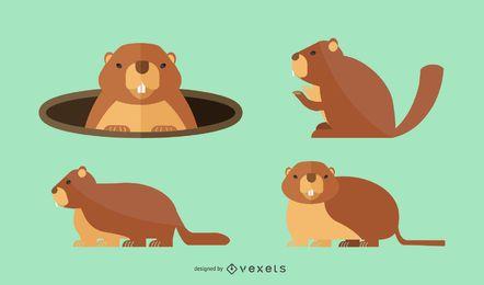 Conjunto de ilustración de marmota plana