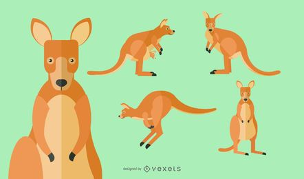 Flat Kangaroo Illustration Set