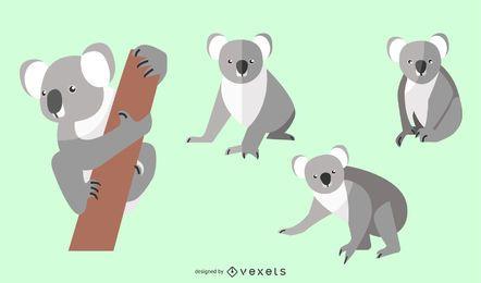 Conjunto de ilustração plana Koala