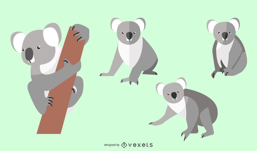 Flat Koala Illustration Set