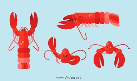 Conjunto de ilustração de lagosta plana