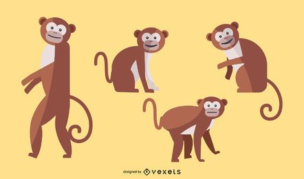 Flat Monkey Illustration Set