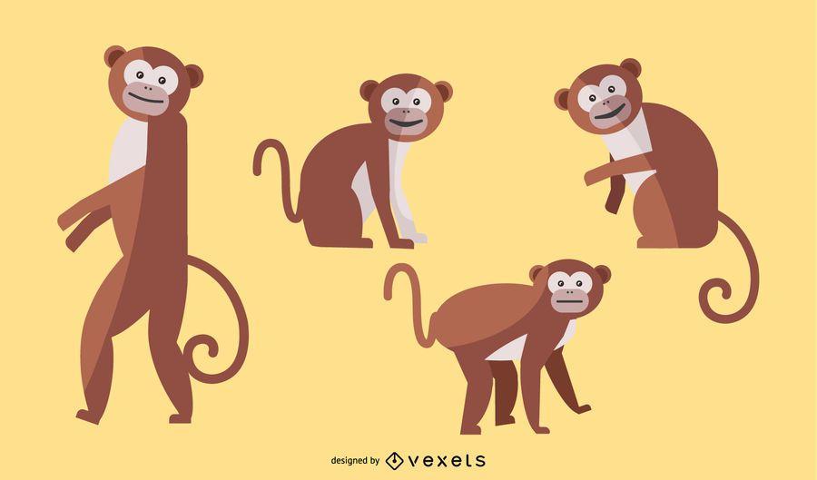 Macaco plano conjunto de ilustração