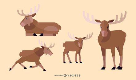 Conjunto de ilustración de alces plana