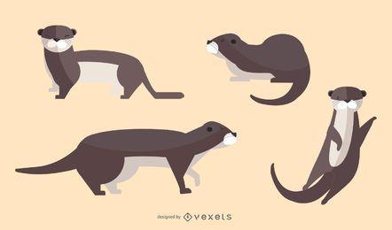 Conjunto de ilustración de nutria plana