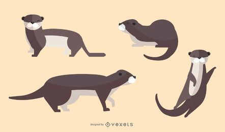 Flat Otter Illustration Set