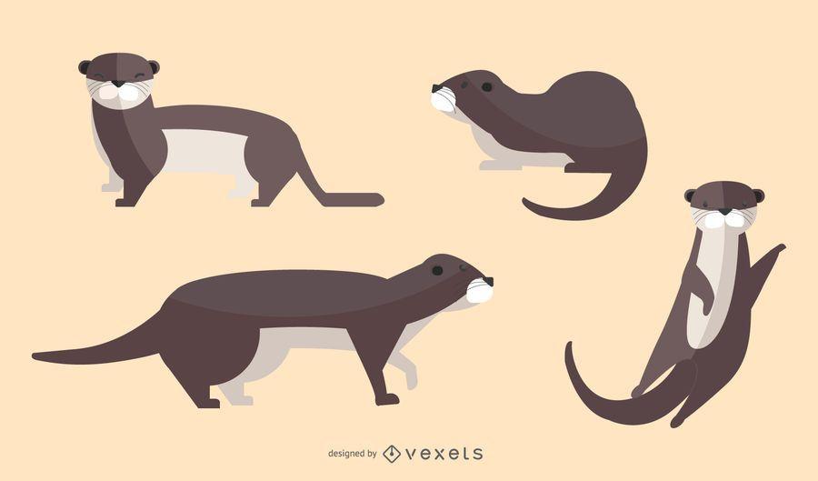 Flat Otter Illustration Set