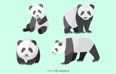 Flat Panda Illustration Set