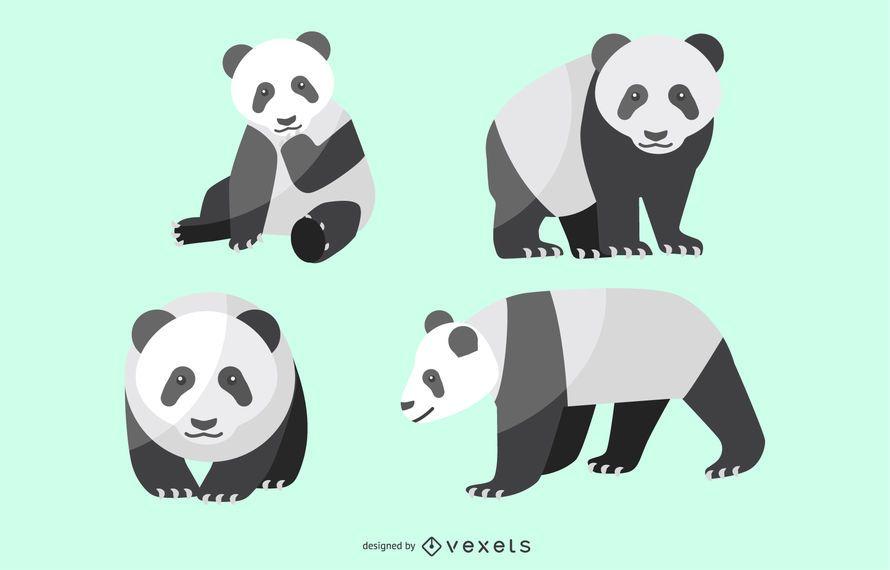 Flat Panda Illustration Set