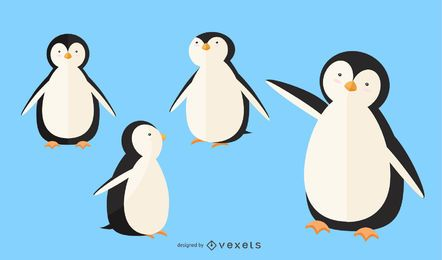 Flacher Pinguin-Illustrationssatz