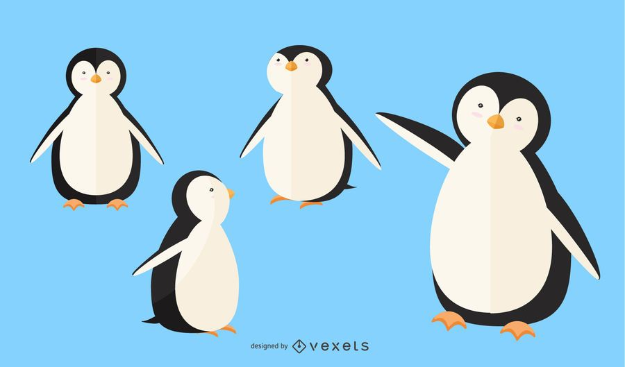 Flat Penguin Illustration Set