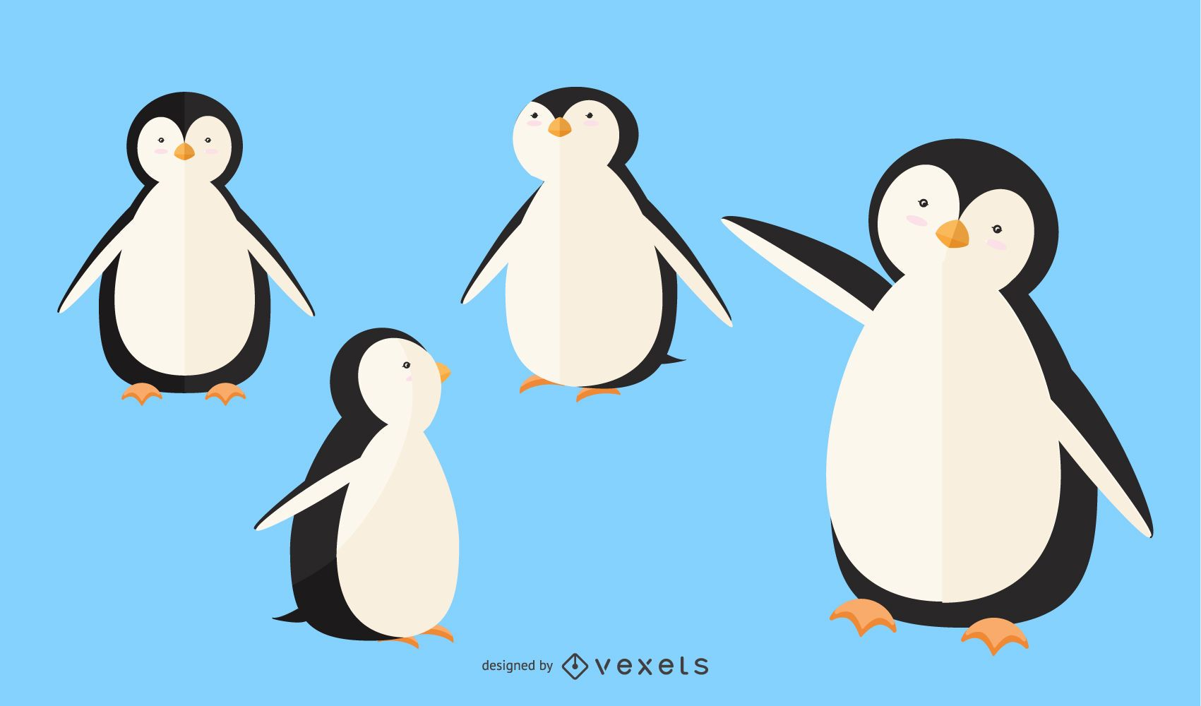Flat Penguin Illustration Set