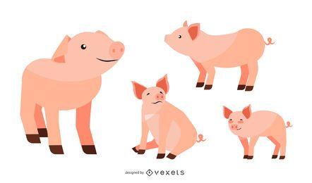 Conjunto de ilustração de porco liso