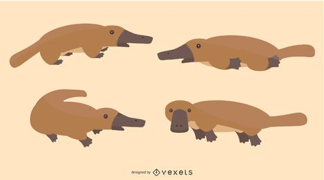 Flat Platypus Illustration Set