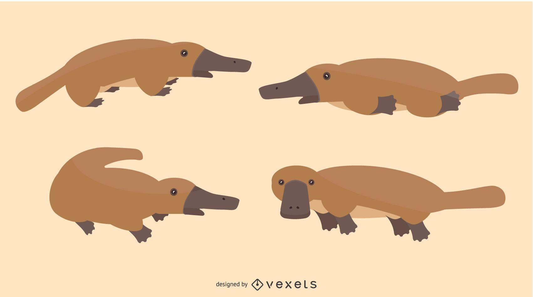 Flat Platypus Illustration Set
