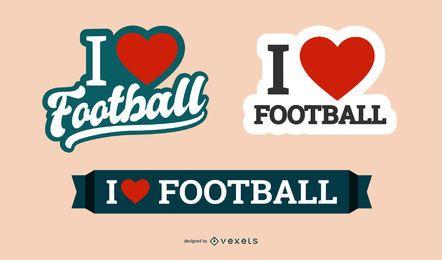 Eu amo o conjunto de distintivo de futebol