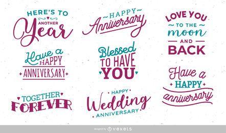 Hochzeitstag-Beschriftungssatz