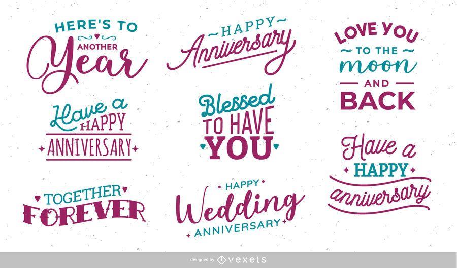 Conjunto de letras de aniversario de boda