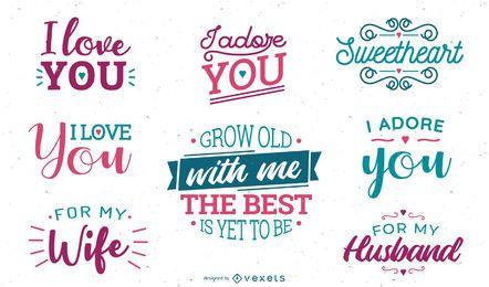 Conjunto de letras de aniversario de amor