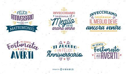 Conjunto italiano de letras de aniversário