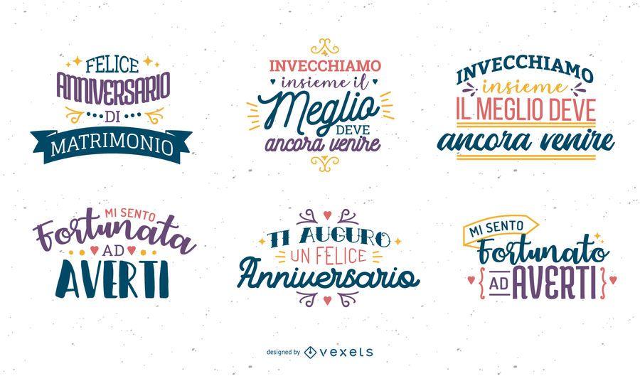 Anniversary lettering Italian set