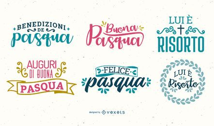 Easter lettering Italian set