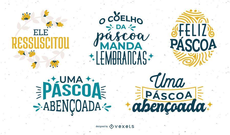 Easter lettering Portuguese set