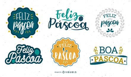 Easter greeting lettering Portuguese set