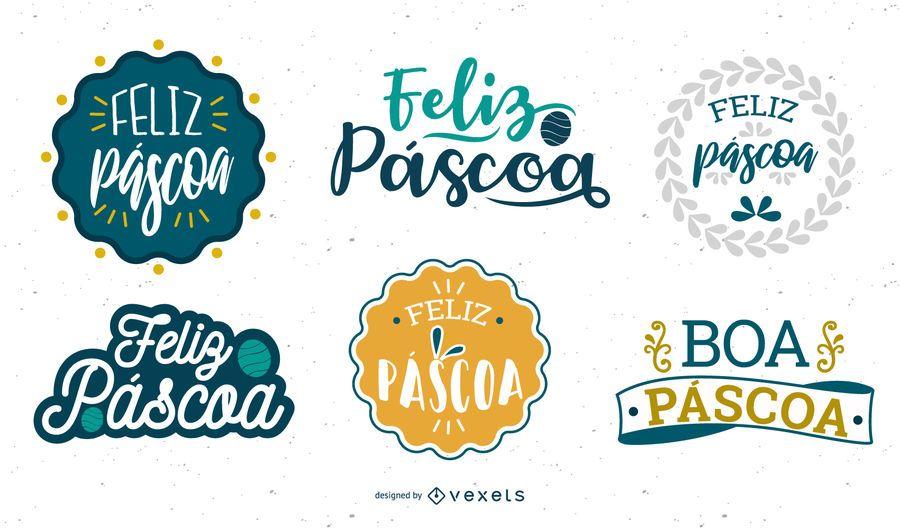Easter greeting lettering Portuguese set